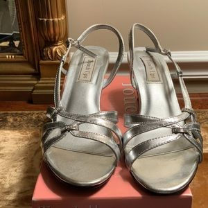 Silver dress shoes worn once good condition
